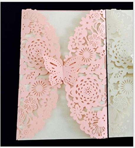 10PCS Pink Butterfly Laser Cut Wedding Invitations Cards Wedding Birthday Engagement Greeting Tksmart from Unknown
