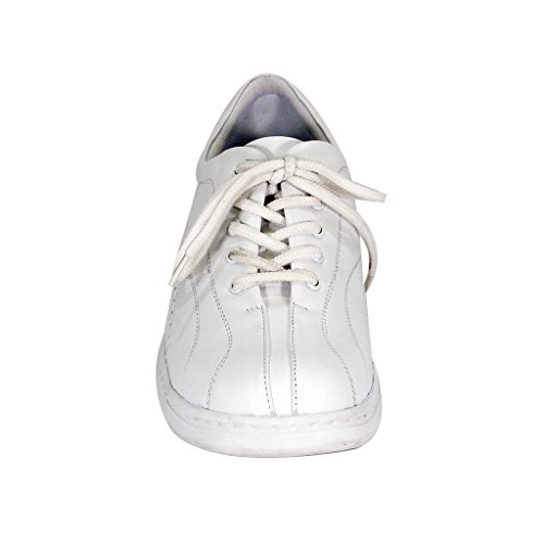 Comfort Lace Women Leather Hour Elegant Width Cushioned 24 Up Gia Durable Trendy White Shoes Wide fSRH5wq