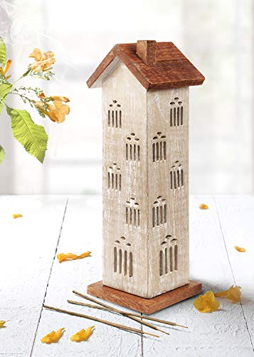 - storeindya Wooden Incense Cone Tower Burner Stand Holder Ash Catcher (Design 9)