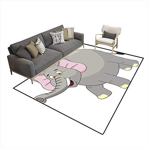 Girls Bedroom Rug Elephant Cartoon