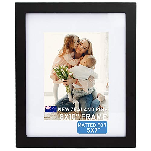 Beyond Your Thoughts Wood + Real Glass (Hang/Stand) 8X10 Black Picture Photo Frame with Matted for 5X7 Photo for Wall and Table Top (1 Pack) (Picture Frames 5x7 Matted)
