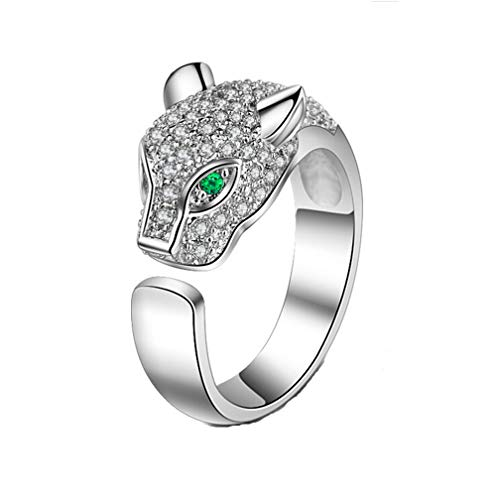 TULIP LY Leopard Head Ring Adjustable White Gold Ring with Cubic Zirconia Inlay Uniquely Stylish Ring for Women]()