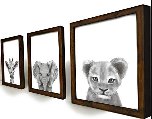Set of 3 Framed Baby Woodland Safari Animal Rustic Nursery Decor (Safari Walnut Stained Frame, 11″x14″)