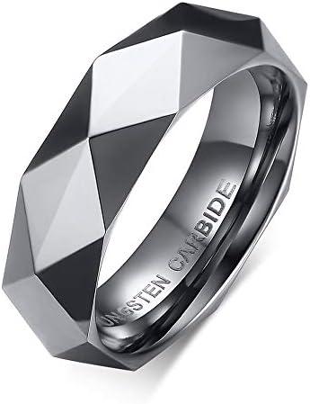 メンズ リング タングステン リング 指輪 カットリング Mens Ring ブラックカーラ 彼氏 父親 兄に誕生日 記念日 プレゼント (Silver, 13)