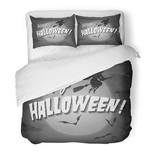 Emvency Bedding Duvet Cover Set Full/Queen (1 Duvet Cover + 2 Pillowcase) 1950S Movie Ending Screen Happy Halloween Haunted 1930S Hollywood Classic Retro Hotel Quality Wrinkle and Stain Resistant ()