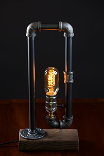 Minimalist Industrial Steampunk Desk Lamp Wood Base W Iron Piping Vintage Antique Designer Lighting Retro Edison Medium Screw Lamp Holder Task Reading Light Hallway Study Bedroom Tattoo Parlor