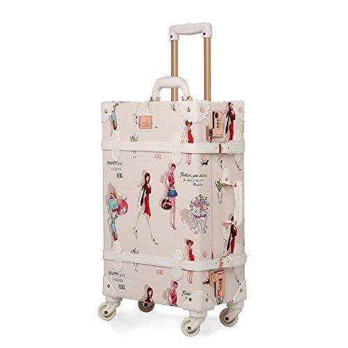 Unitravel Retro Suitcase Vintage Luggage Spinner Wheels PU Women Travel Luggage