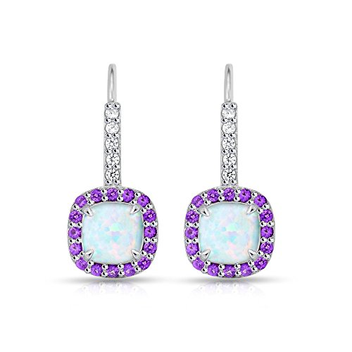 Sterling Silver Simulated White Opal & Simulated Amethyst Cushion-cut Halo Leverback Earrings Cushion Cut Gemstone Leverback Earrings