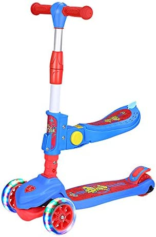 JIKE SLIDE Kick Scooter Great for Kids Toddlers Girls or Boys 3 Adjustable Height Wide Deck PU Flashing Wheels for Children from 2 to 14 Year-Old