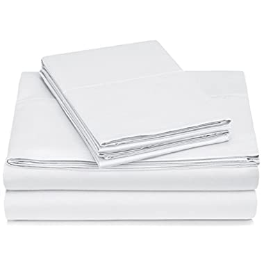 Pinzon 400-Thread-Count Hemstitch Egyptian Cotton Sheet Set - Queen, White