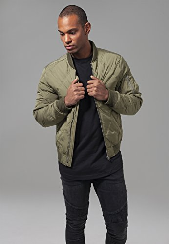 - Urban Classics Mens Bomber Jacket TB1620 Big Diamond Quilt Bomber Jacket Color: Olive in Size: XX-Large