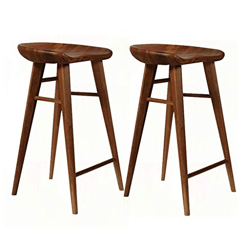 Dining Room Teak Bar Stool - Lxn Furniture Modern Simplicity Bar Stool Kitchen Chair, Solid Wood Counter Stool with Saddle Seat,Perfect for Dining and Living Room,Counter, bar(1-PCS)