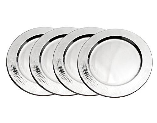 Godinger Silver Plated Plates (Godinger Hammered Charger Plate, Set of 4, 13