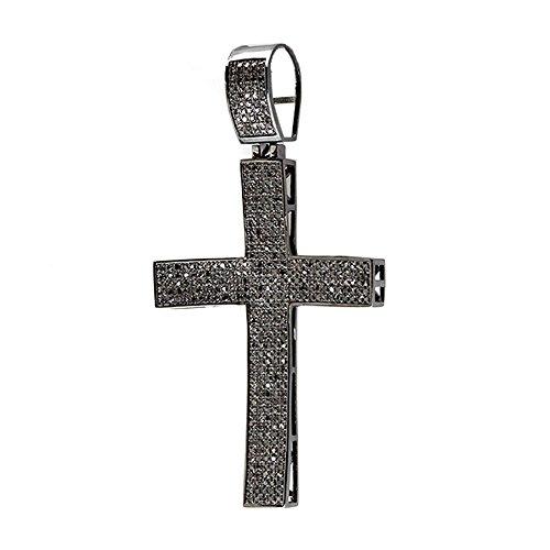 2.00 Carat (ctw) Sterling Silver Black Diamond Micro Pave Mens Hip Hop Style Religious Cross Pendant Necklace, FREE CHAIN (Diamond Pave Silver Necklace)