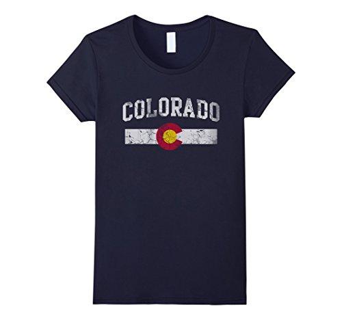 Womens Retro State Of Colorado Flag Shirt Small Navy