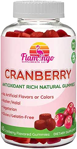 Flamingo Supplements – Cranberry Gummy Supplement for Women, Men, and Kids. Vegetarian, No Gluten, Gelatin or GMO. Kosher and Halal. 60 Count