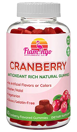 Flamingo Supplements – Cranberry Gummy Supplement for Women, Men, and Kids. Vegetarian, No Gluten, Gelatin or GMO. Kosher and Halal. 60 Count For Sale