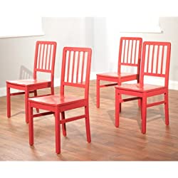 TMS Camden Dining Chair, Red, Set of 4
