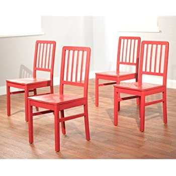 Exceptionnel Target Marketing Systems Camden Collection Modern Slatted Back Dining Chairs,  Set Of 4, Red