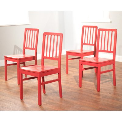 Target Marketing Systems Camden Collection Modern Slatted Back Dining Chairs, Set of 4, Red (Sale Chairs Red Kitchen)