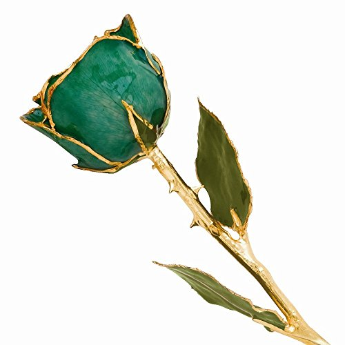 Long Stem 24k Dipped Gold Trim Green Rose With Gift Box