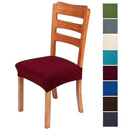 smiry Stretch Jacquard Chair Seat Covers for Dining Room, Removable Washable Anti-Dust Chair Seat Protector Slipcovers - Set of 4, Burgundy (Oversized Kitchen Chair Cushions)