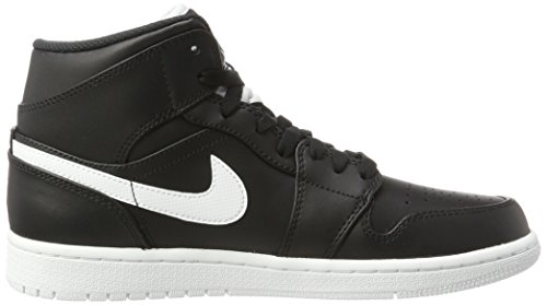 Air Jordan 1 White Mid Homme Noir White de Noir Chaussures Black Basketball Nike ZqTaSwa