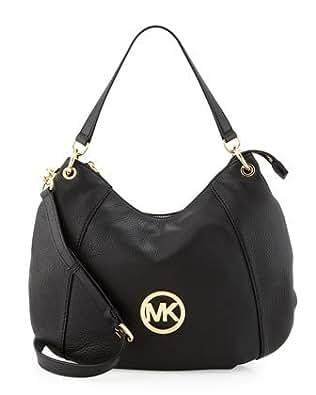 Michael Kors Fulton Large Genuine Leather Convertible Shoulder Bag Black