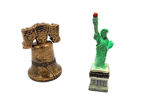 Liberty Bell and Statue of Liberty Porcelain Hinged Trinket Boxes (Set of 2)