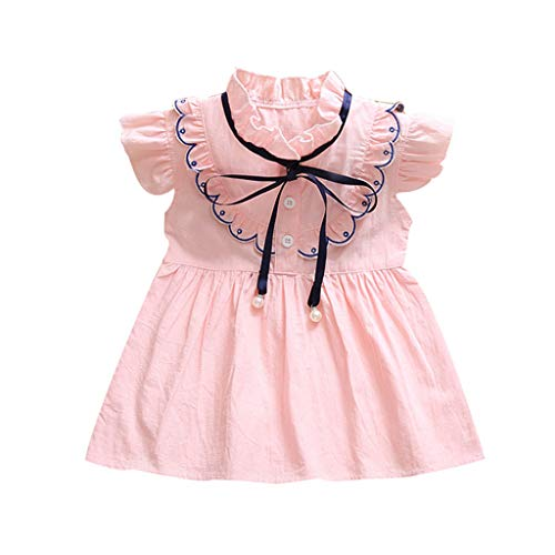 Toddler Little Baby Girls A-Line Dresses - Elegant Cute Ruffle Shorts Sleeve Bow Front Dress - Summer Solid Color Dress (12-18 Months, Pink)