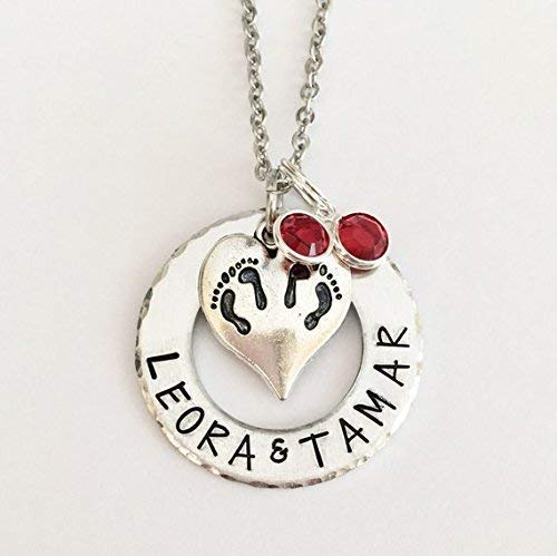 Twins Necklace Mothers Necklace New Baby Twin New Mom In Vitro Mom of 2