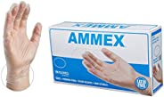 AMMEX Medical Clear Vinyl Gloves, Box of 100, 4 mil, Size Medium, Latex Free, Powder Free, Disposable, Non-Ste