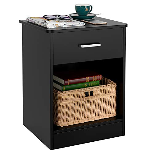 HOMFA Nightstand 2-Tier, Tall 1-Drawer End Table Side Table File Cabinet Storage Table for Home Office Bedside Cabinets with Sliding Drawer and Shelf, Black