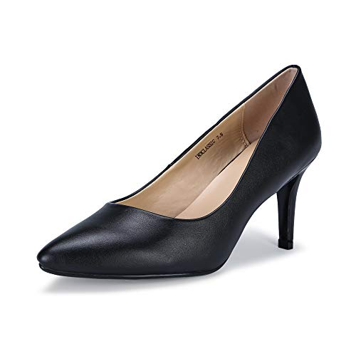 IDIFU Women's IN3 Classic Slip On Pointed Toe Mid Heel Dress Pump (Black PU, 6.5 B(M) ()
