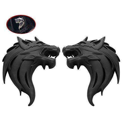 WindCar 2x Metal Wolf Head Trunk Emblem OEM Car Side Fender Rear Left & Right Sticker for JEEP Dodge (Black)