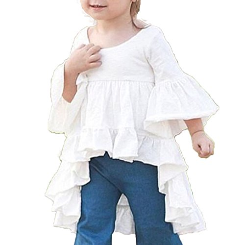 White Ruffled Top Outfit (Toddler Kid Girls Fashion Frills Bell Sleeve Ruffled Boho Beach Blouse Top Shirt (5-6 Years, White))