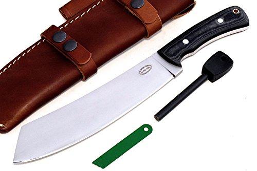 CFK Cutlery Company USA D2 TOOL STEEL Micarta Parang Bushcraft Hunter Camping Hunting Chopper Knife & Horizontal Leather Sheath & Fire Starter Set CFK205