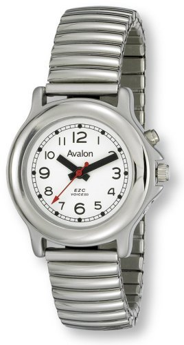 Avalon EZC Women's Silver-Tone Low-Vision 1-Button Silver-Tone Talking Watch # 2609L-1B