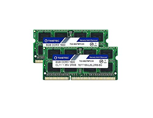 Timetec Hynix IC 16GB Kit(2x8GB) DDR3L 1600MHz PC3L-12800 Non ECC Unbuffered 1.35V CL11 2Rx8 Dual Rank 204 Pin SODIMM Laptop Notebook Computer Memory Ram Module Upgrade(16GB (Sodimm Notebook Memory Kit)