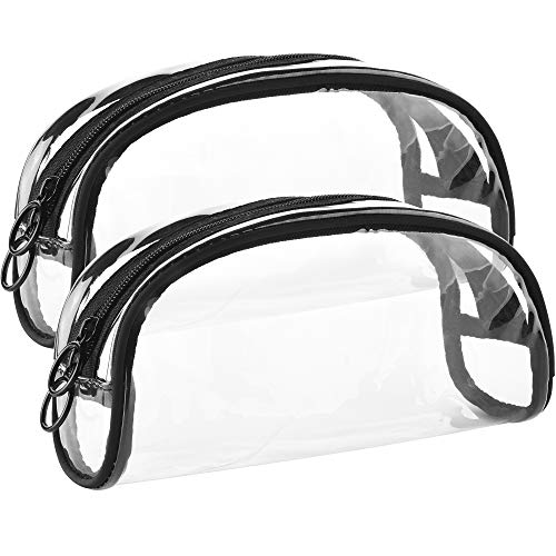 CM Pack of 2 Transparent PVC Travel Bag Toiletry Bags Waterproof Makeup Pouches Semicircle Cosmetic Bag with Zipper (Best Makeup For Dark Circles And Bags)