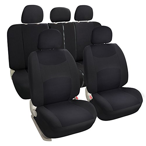 Leader Accessories Auto Solid Black Cloth Seat Covers Set - Airbag Compatible - Front Low Back Buckets