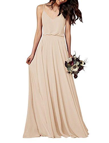 EverLove Women's Long Spaghetti Straps Prom Dress Chiffon Bridesmaid Dresses Champagne US4