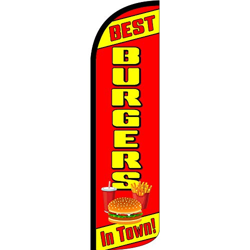 BEST BURGERS IN TOWN Windless Feather Flag, FLAG ONLY (11.5' Tall x 3' Wide) (The Best Burger In Town)