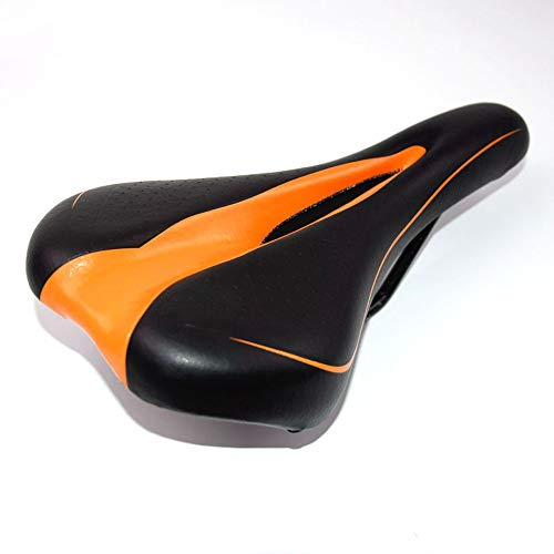 (Rpzzy Mountain Road Bicycle Saddle Hollow Soft Seat Cushion Black Orange Side Cushion Breathable Reduce Wind Resistance)