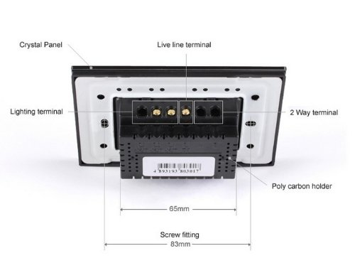 NIMTEK US/AU Standard, 2-gang 2-way, VL-C302S-82, Touch Screen Light Switch with LED indicator, Black Crystal Glass Panel by NIMTEK (Image #3)