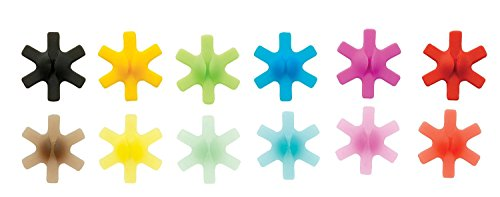 Holder Toothpick Star (Drink Markers - Set of 12 Stick-On Wine Charms - Colorful Glass Markers With Toothpick Holder And Storage Case, Mulitcolor, By Orka)