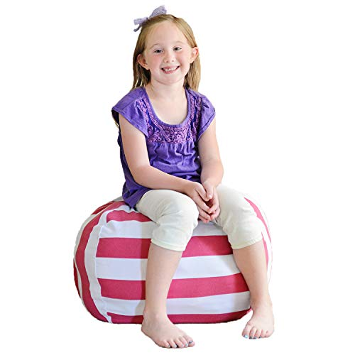 Creative QT Stuff 'n Sit - Stuffed Animal Storage Bean Bag Chair for Kids - Pouf Ottoman for Toy Storage - Available in a Variety of Sizes and Colors (27