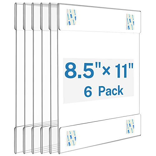 MaxGear Acrylic Sign Holder 8.5 x 11 Sign Holders Plastic Frames Clear Frame 8.5x11 Wall Mount Sign Holder Wall Sign Holder with 3M Tape Adhesive, for Plexiglass, Flyer, Poster, Door, Document, 6 Pack