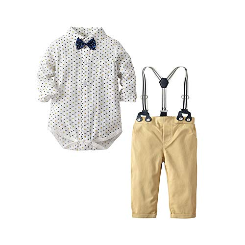 Newborn Baby Boys Romper Jumpsuit Outfits Suits+Long Sleeve Shirt+Suspender Pants+Bowtie, Infant Gentleman Pants Set (White Love+Khaki, 12-18M/90) ()