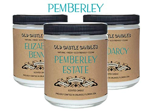Pemberley Estate Book Candles Set, Literary Lovers Gifts, Bookshelf Decor, (3) 4oz Candles ()